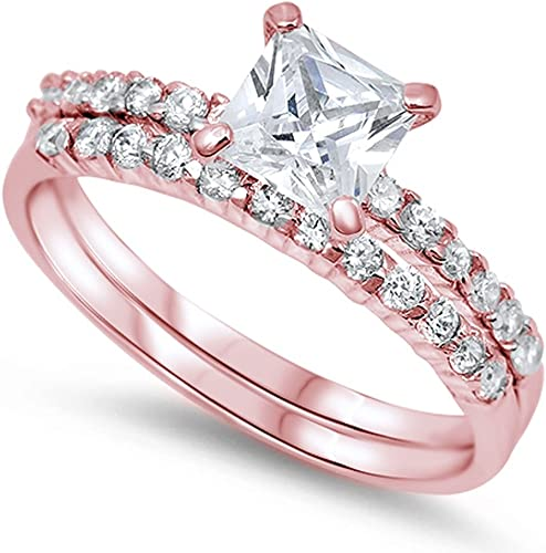 Rose Gold Plated Round Cubic Zirconia .925 Sterling Silver Ring Set Sizes 5-10