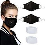 2 Pcs Adult Unisex Reusable Washable Adjustable Face Protection with Breathing Valve and Nose Wire Breathable Cotton Dust Clo