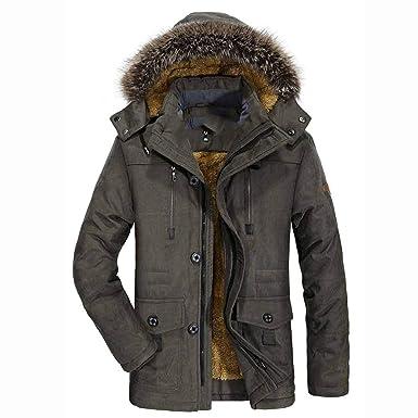 Amazon.com: Bomber Jacket Fur HoodedJackets Men Winter ...