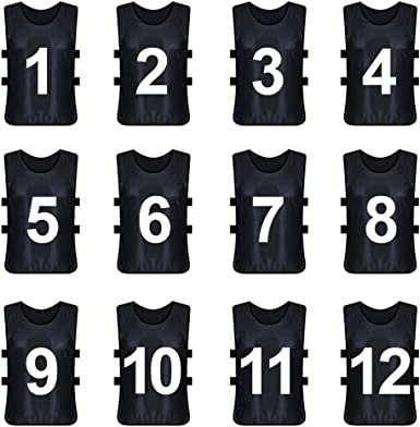 Amazon Com Toptie Sets Of 12 1 12 13 24 Numbered Blank Training Vest Soccer Pinnies Clothing