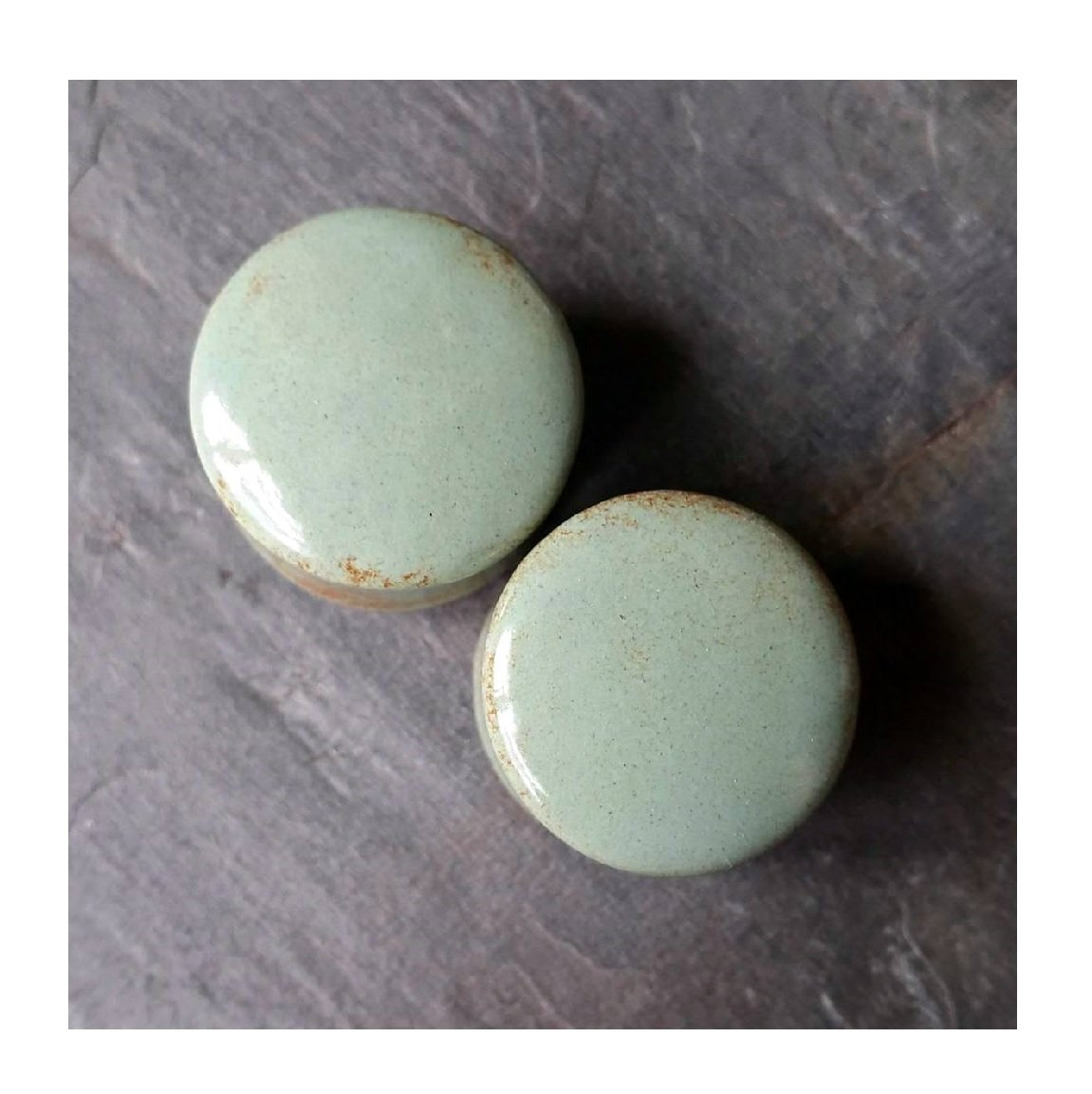 Pair - Seafoam Ocean Glass Blue/ Green Ceramic Ear Plugs Organic Handmade double-flared gauges Essential Oil Diffuser (32mm 1-1/4in) by Imperial Plugs