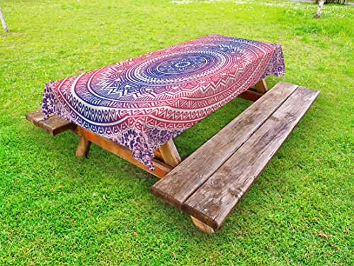 Ambesonne Pink and Purple Outdoor Tablecloth, Ombre Mandala Design Ethnic Eastern Pattern Chakra Meditation Hippie Art, Decorative Washable Picnic Table Cloth, 58 X 104 inches, Purple Pink by Ambesonne