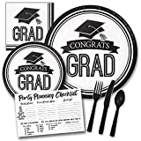 White and Black Congrats Grad Graduation Themed Party Supply Pack Bundle - Serves 18 Guests, Graduation Party Supplies 2018