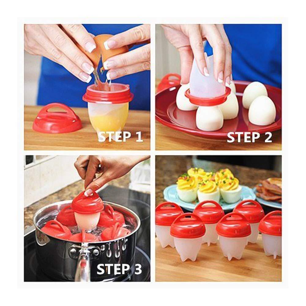 LANGING Lot de 6 Silicone Oeufs cuits /à la Coque sans Coquille antiadh/ésive Moule /à /œufs bouillis