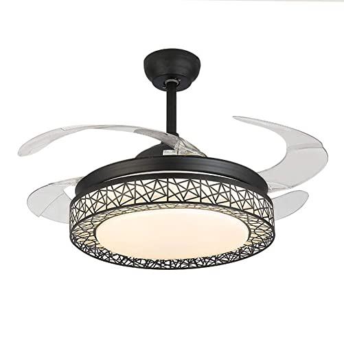 BDenise 42 Invisible Ceiling Fan Light 3-Speeds Remote Control 4 Retractable Blades LED Chandelier Creative Bird s Nest Lamp Decor Black