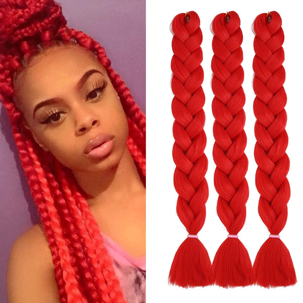 Wome Synthetic Braiding Hair 3 Pcs 165g Color Red High Temperature Synthetic Fiber Crochet Twist Braids 84 Long Hair Extension 84 Red Beauty