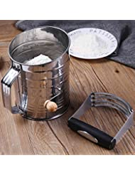 Stainless Steel Flour Sifter, Large 5-Cup Crank Sugar Sifter for Baking, Almond, Bread, Cake Flour, with Pastry Cutter or Dough Blender