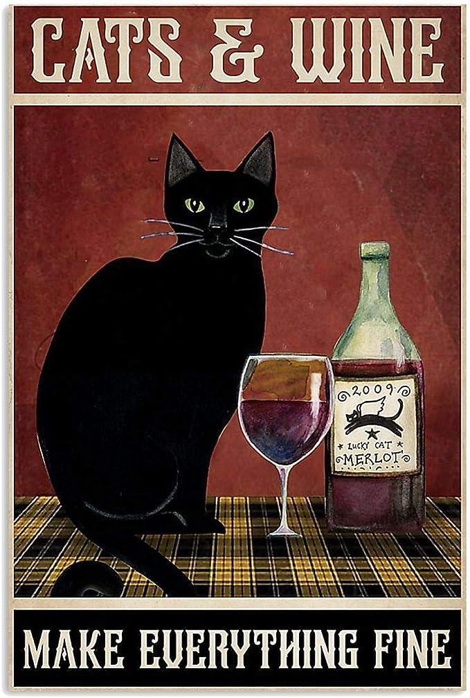 Póster de gato y vino con texto