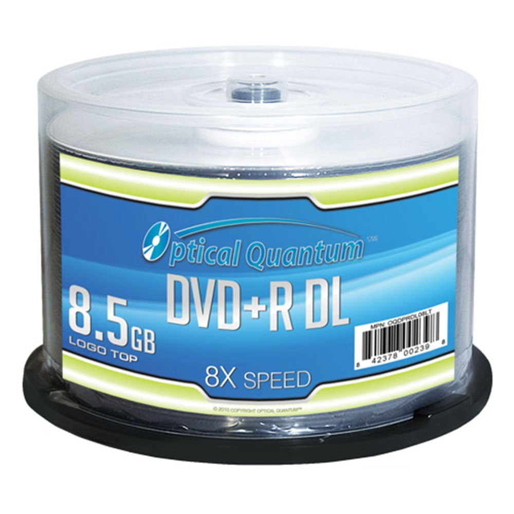 Optical Quantum OQDPRDL08LT 8 X 8.5 GB DVD+R DL Double Layer Recordable Blank Media Logo Top, 50-Disc Spindle