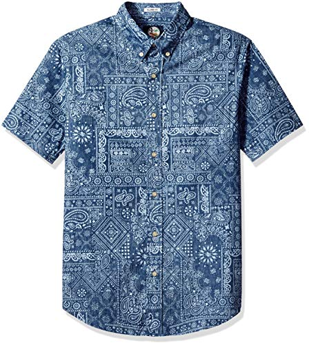 Reyn Spooner Men's Tailored Fit Hawaiian Shirt, Aloha Bandana - Navy, M