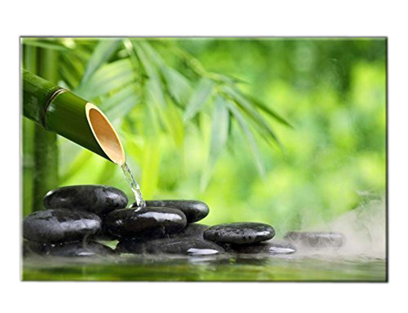 Green Spa Still Life With Bamboo Fountain And Zen Stone In Water Wall Art Painting The Picture Print On Canvas Botanical Pictures For Home Decor Decoration Gift Stretched By Wooden Frame Ready To Hang