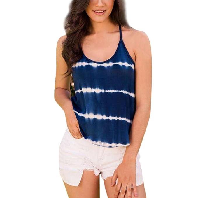 OHQ Las Tapas De ArnéS Impresas Actuales De Las Mujeres Azul Camiseta De ImpresióN De Cuello