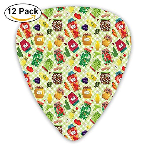 Foods In Glass Jars On Checked Table Cloth Cucumber Tomato Eggplant Carrot Mushroom Guitar Picks 12/Pack Set