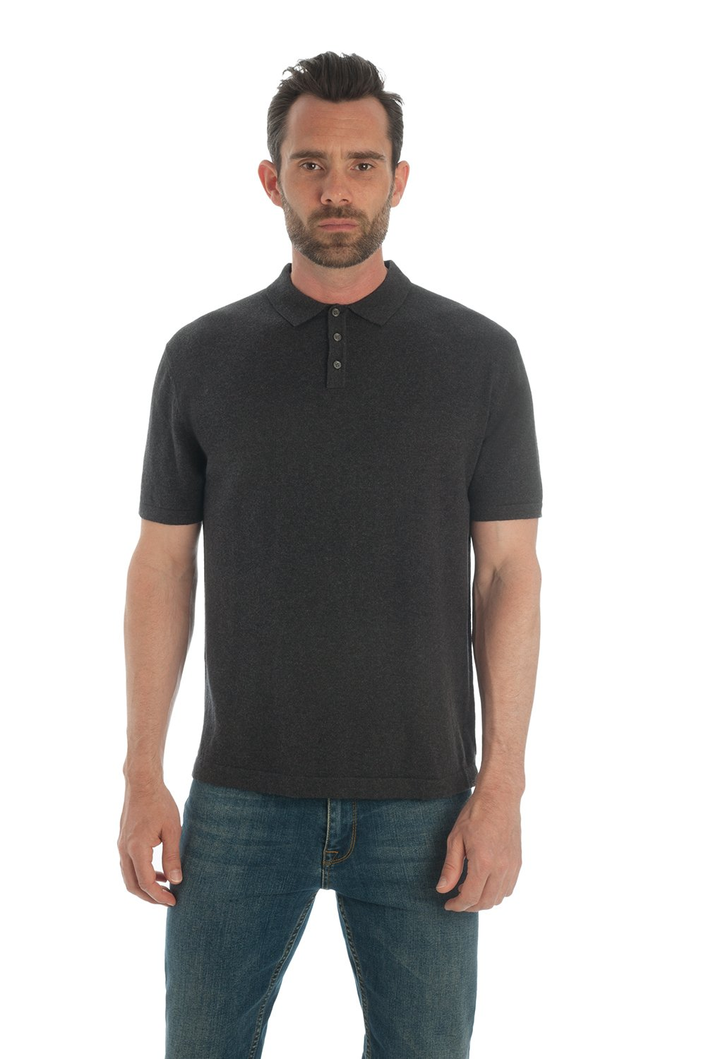 Adorawool Men's Polo Shirt - Short Sleeve- Luxury Cotton & Cashmere - Soft Feel,Charcoal,Large