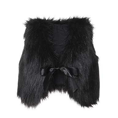 3aeadb648561 Amazon.com  BAOSHI1 Kids Toddler Infant Baby Girl Faux Fur Vest Coat ...