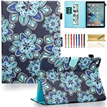 iPad Air 2 Case, iPad 6 Case, Dteck(TM) Pretty Cute Cartoon Flip Smart Stand Case with [Auto Sleep Wake] Premium Synthetic Leather Magnetic Wallet Cover for Apple iPad Air 2-Blue Lotus