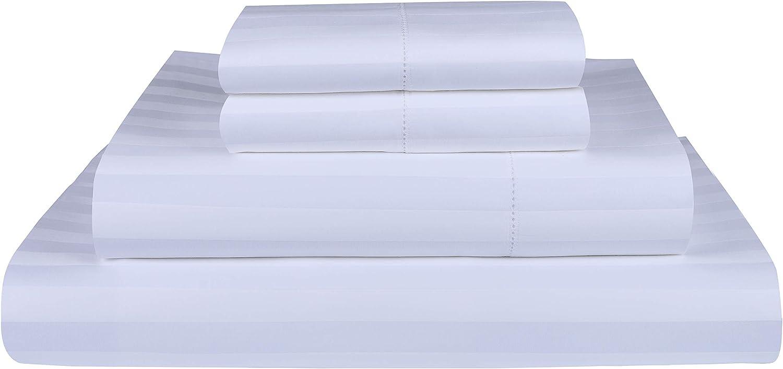 Threadmill Home Linen 500 Thread Count 100% Extra-Long Staple Cotton Sheet Set, Damask Stripe Hemstitch Luxury Bedding, California King Sheets, 4 Piece Set,Smooth Sateen Weave,White