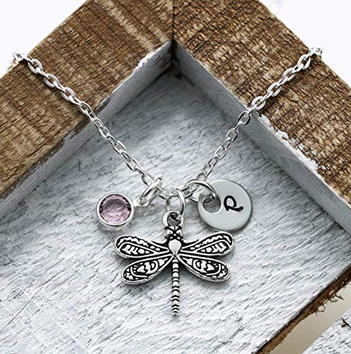 Dragonfly Necklace - Personalized Birthstone & Initial - Dragonfly Jewelry - Dragonfly Gifts For Women