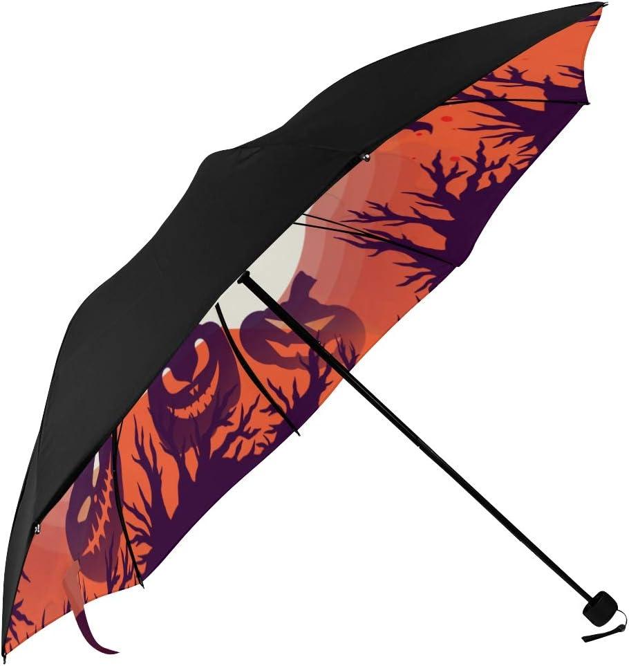 Travel Umbrella Black Folding Umbrellas With Halloween Bat And Candies Printed