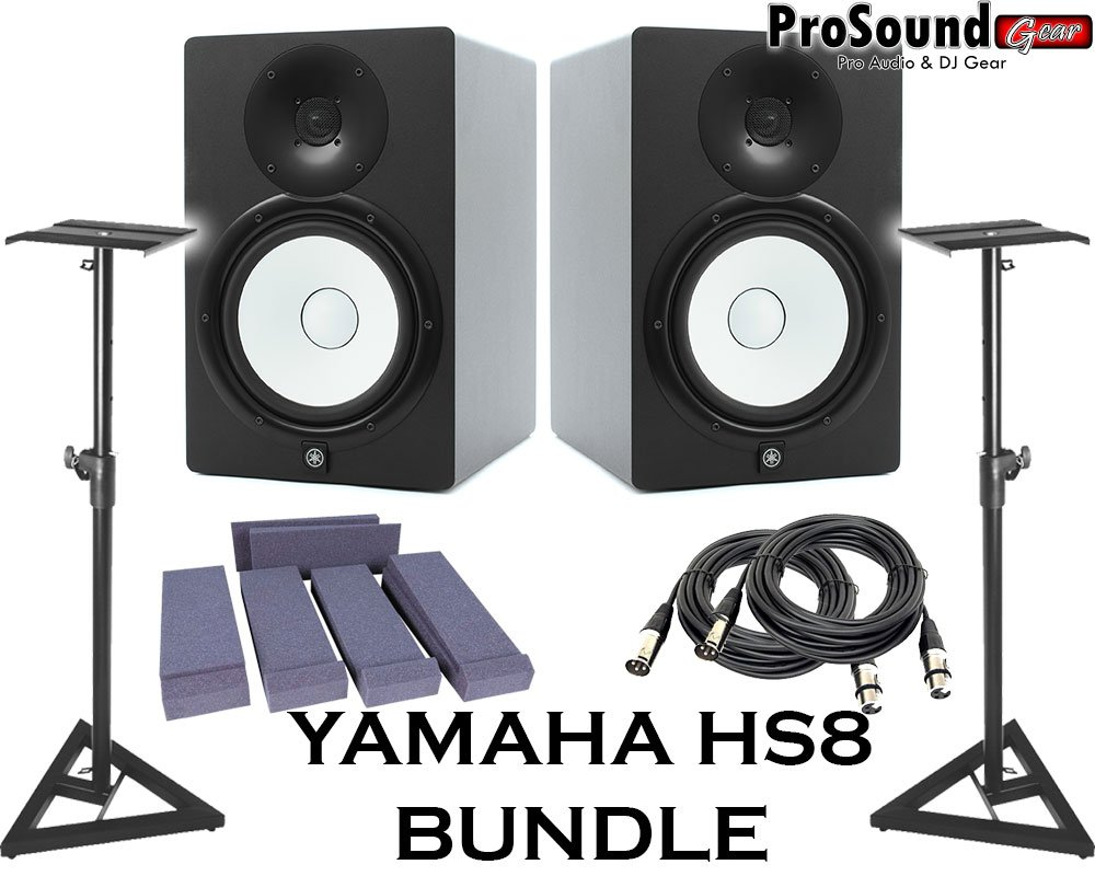 Yamaha HS8 Powered Studio Monitor Pair with XLR-Cables Insolation Monitor PAD and Speaker Stands
