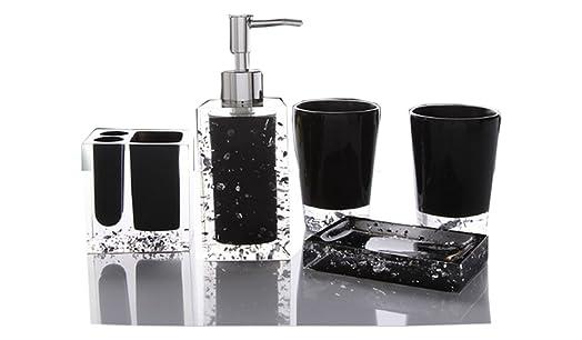Yiyida Ice Series Bathroom Set 5pcs Luxury Acrylic ToothBrush Holder Tumbler Soap Dish