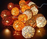 Storm Autumn Browns Rattan Cane Battery Powered Led Wooden Ball Fairy Light String 3m (9.9 Feet) Long by Thai Decorated