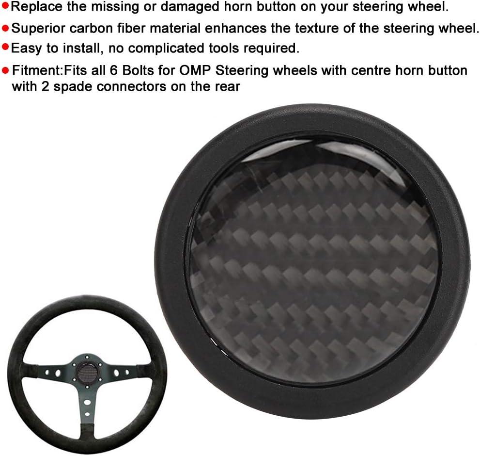KIMISS Bot/ón de volante de fibra de carbono bot/ón de bocina del volante para 6 pernos para volante