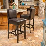 (Set of 2) Devin Brown Leather Barstool