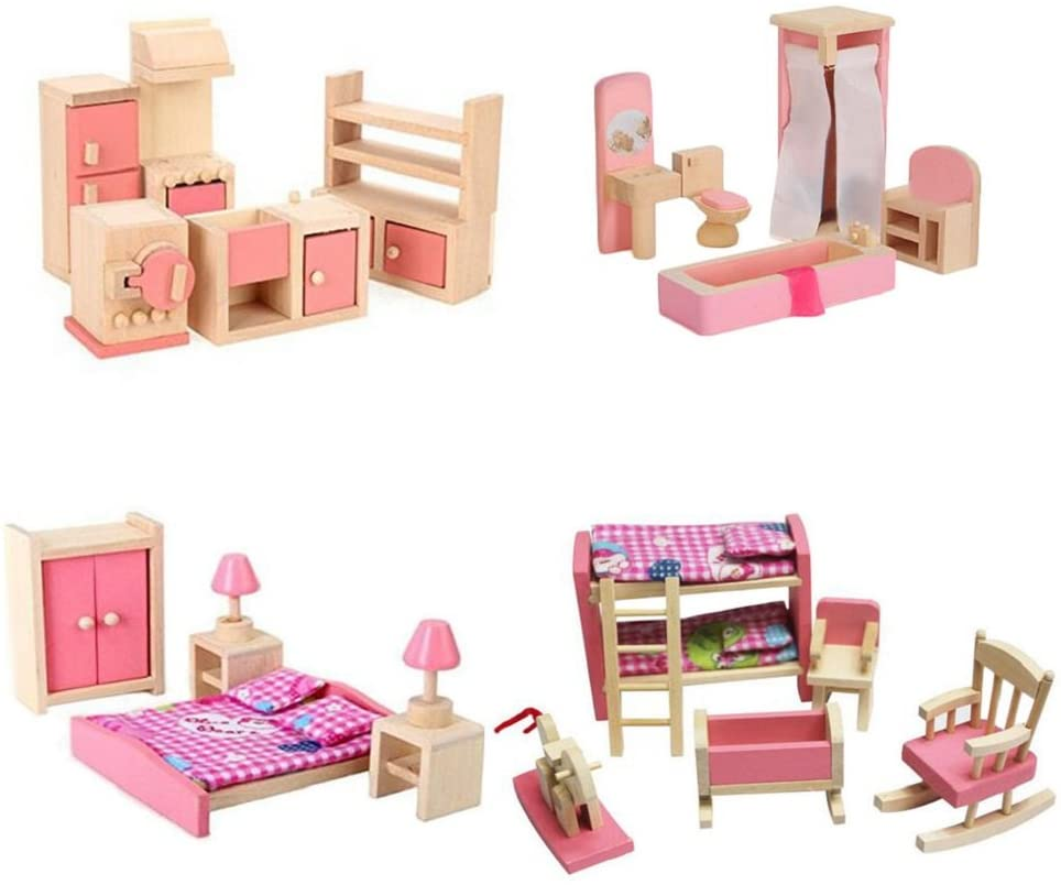 Wooden Dollhouse Furniture Set Including Kitchen Bathroom Bedroom Kid Room for Dollhouse Pink Color