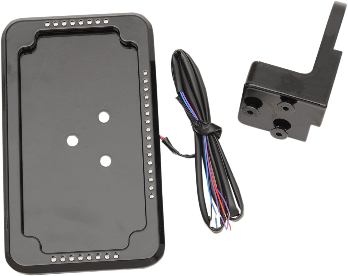 Cycle Visions In-Close Vertical Slick Signal License Plate Frame and Holder - Black CV4605SB