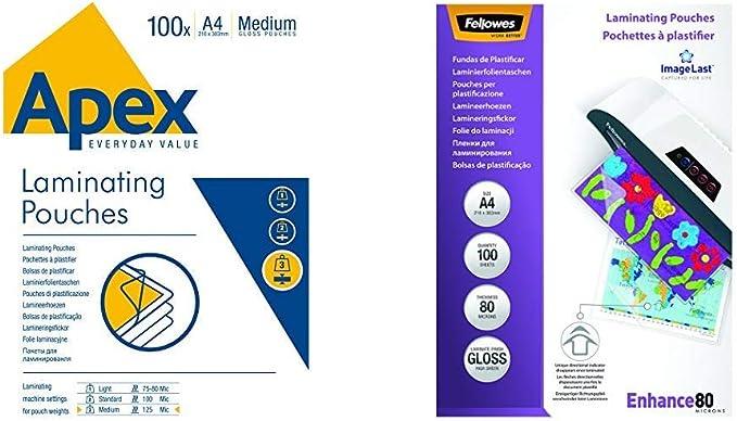 100 bolsas de plastificado A4 resistentes bolsas de 250 micras para plastificar 100 unidades