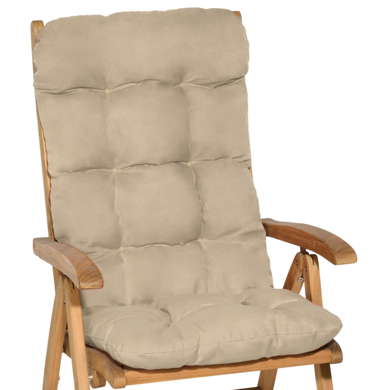 Beautissu Flair HL - Cojín para sillas de balcón o Asiento Exterior con Respaldo Alto -