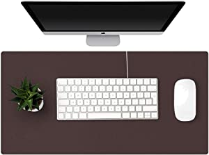 GORESE Dual-Sided Desk Pad,Waterproof Desk Mat, Large Mouse Pad for Computers, Keyboards and Laptops, Anti-Slip Writing Mat for Office and Home(Dark Brown, 60 x 30 cm/ 23.6 x 11.8 inches)
