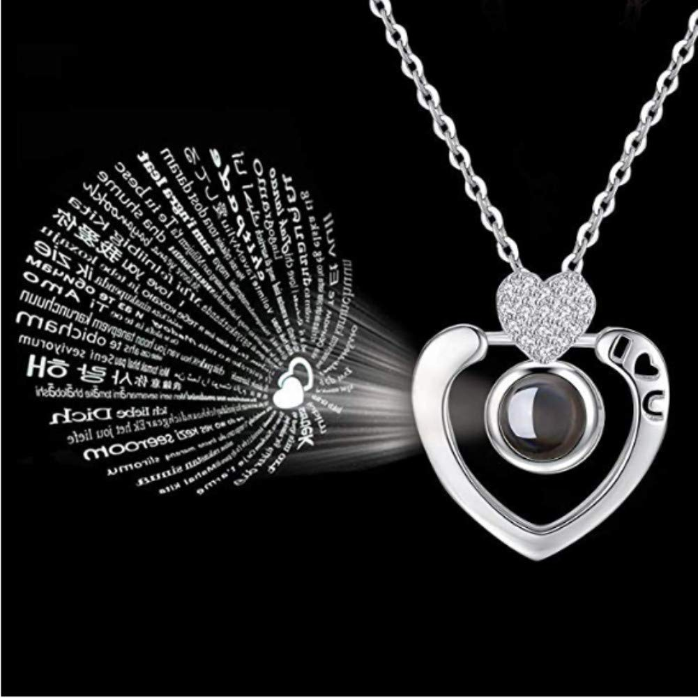 LUYUAN JEWELRY 100 Different Language I Love You Necklace, Magic Love Memory Pendant Necklace for Women Best Gift for Lover (Silver, Only U)