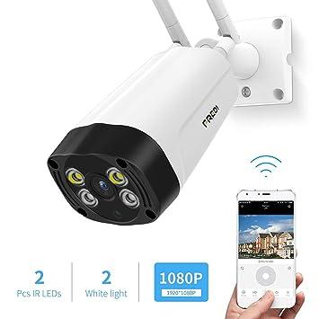 FREDI F6 - Cámara de Vigilancia para Exteriores, 1080P HD Inalámbrica Seguridad/Cámara Impermeable IP Sistema de cámara con Audio bidireccional, ...