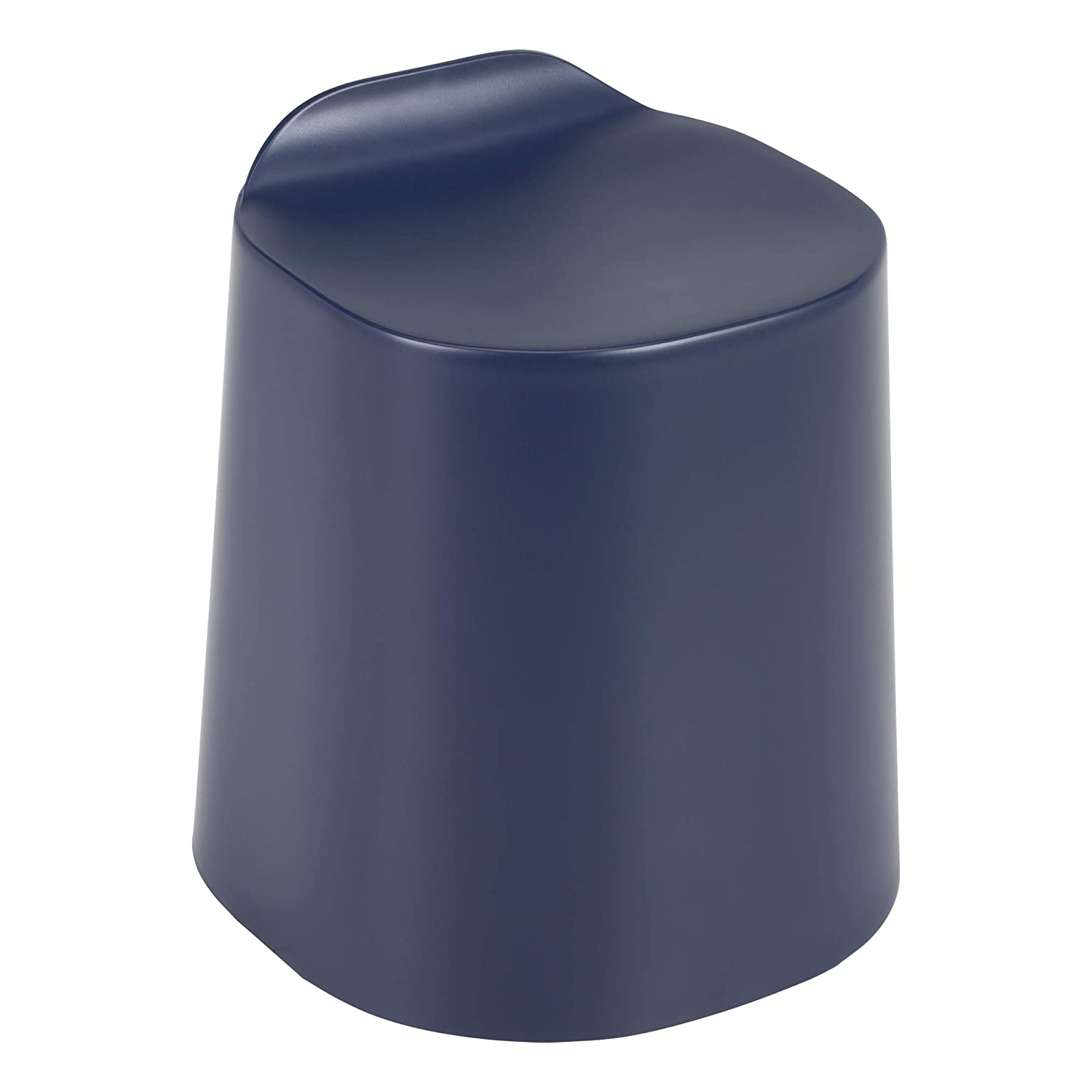 School Outfitters Norwood Commercial Furniture Plastic Stack Stools- Indoor Outdoor Stacking Flexible Seating/Side Tables w/Back Lip- Navy (Pack of 4)