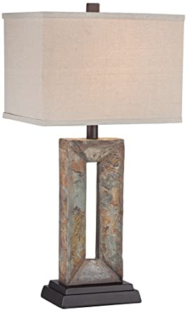 Awesome Tahoe Small Rectangular Slate Table Lamp