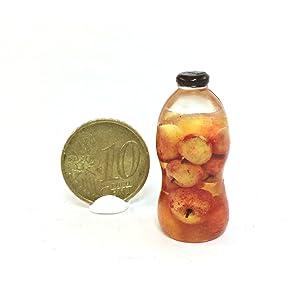 Bottle of apple juice, a jar of apples, apple juice, apple liqueur, a bottle of juice. Dollhouse miniature 1:12