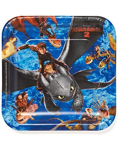 Hiccup Costume Dragon 2 (How to Train Your Dragon Birthday Party Square Lunch Paper Plates Disposable Tableware (8 Pack), Blue/Black, 9