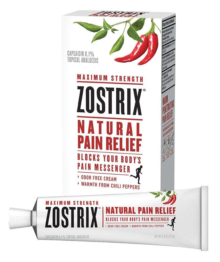 Zostrix Maximum Strength Natural Pain Relief Cream, Capsaicin Pain Reliever, Odor Free, 2 Ounce Tube