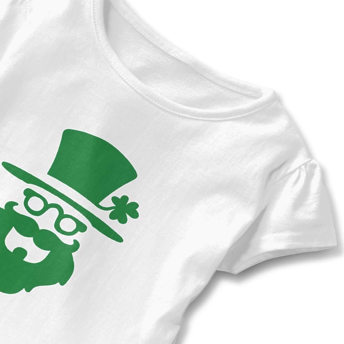 Happy St.Patricks Day Toddler Baby Girls Cotton Ruffle Short Sleeve Top Basic T-Shirt 2-6T