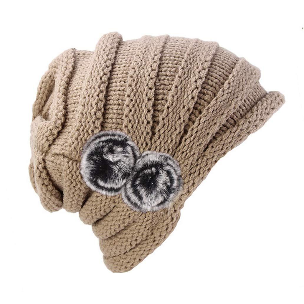 York Zhu Women Hats,Autumn Winter Baggy Fur Warm Knitted Girls Thick Caps