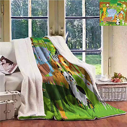 Cheap Wool Blanket Nursery Funny Wildlife Mammals for Family and Friends Weighted Blanket W59x47L Black Friday & Cyber Monday 2019