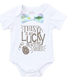 b8eeeb66c Noah's Boytique Baby Toddler Boy Easter Outfit Shirt Egg Hunting with Bow  Tie