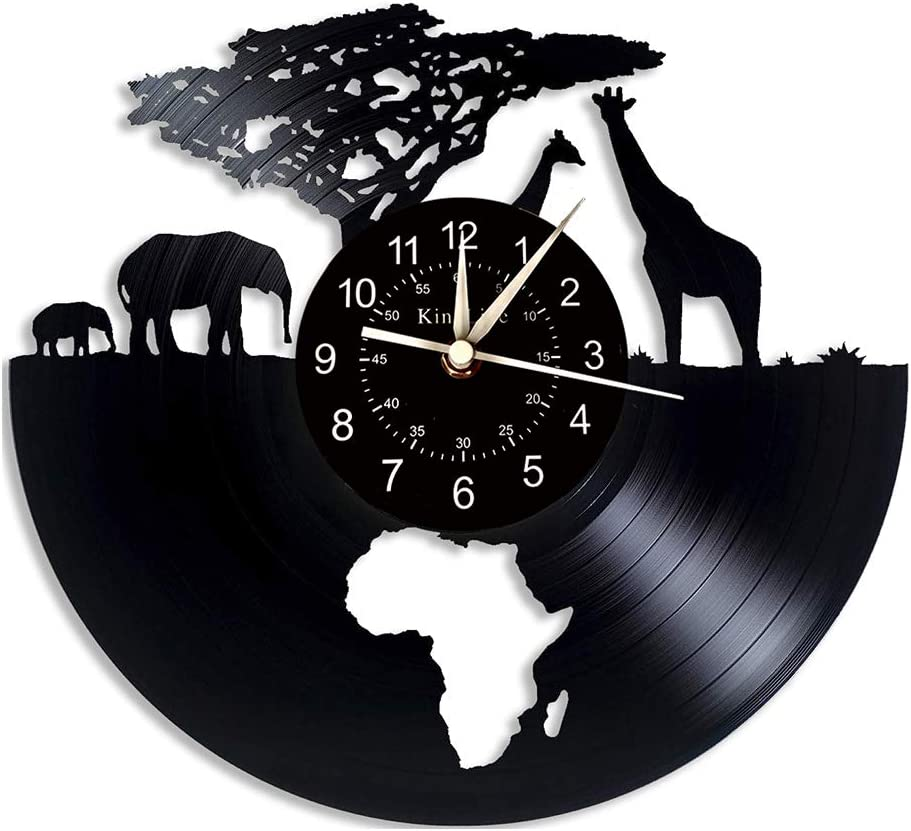 Art League House Vinyl Clock Africa Safari Animals Vinyl Record Wall Clock | South African Animal Figurines Home Decor | Cartoon Clock Birthday Gifts for Kids and Friends.…