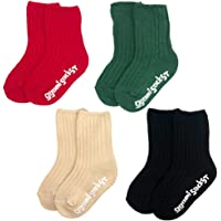 ATTRACTIME Baby Warm Thick Knit Crew Grip Socks, Set of 4, Gift Pack for Infants Toddlers Kids, Made in Korea