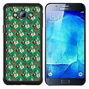KLONGSHOP // Cubierta de piel con cierre a presión Shell trasero duro de goma Protección Caso - Fondo de pantalla de aves Estilo rusa Patrón de arte - Samsung Galaxy A8 A8000 //