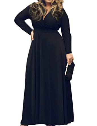 POSESHE Women s Solid V-Neck Long Sleeve Plus Size Evening Party Maxi Dress  Black L 69d595e7ef89