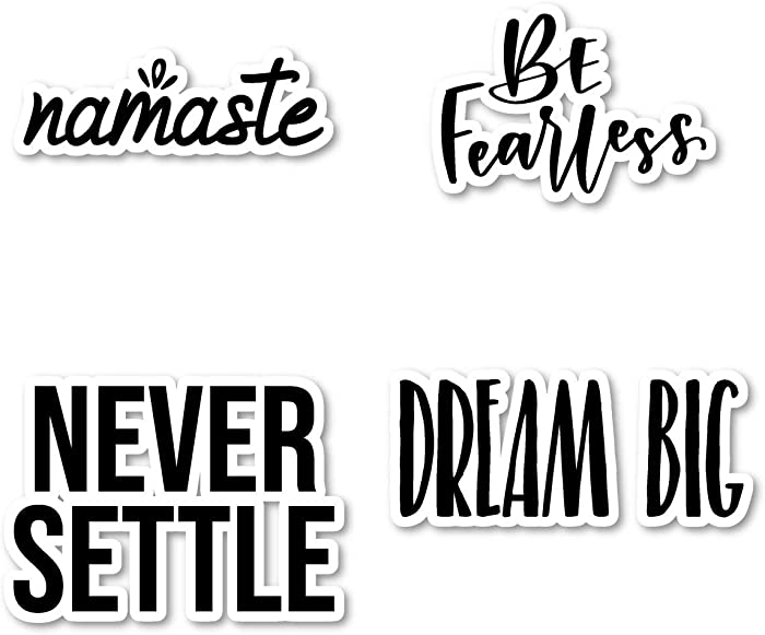 Dream and Be Fearless Sticker Pack Inspirational Stickers - 4 Pack - Laptop Stickers - for Laptop, Phone, Tablet Vinyl Decal Sticker (4 Pack) S210831