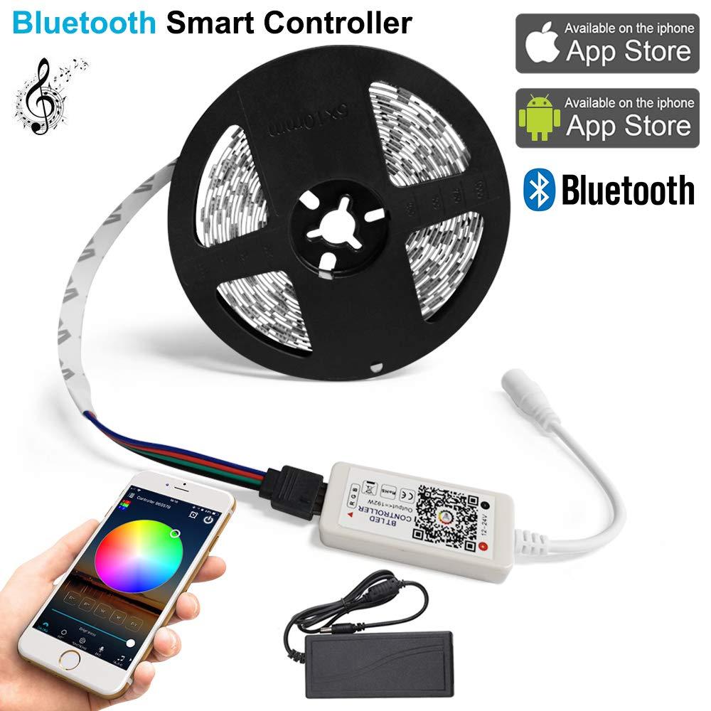 Multicolore Bande Led Lumineuse 150 Leds avec Adaptateur Secteur 2A 12V Contr/ôleur Bluetooth 4.0 Kit de Ruban /à Led 5M 5050 SMD RGB